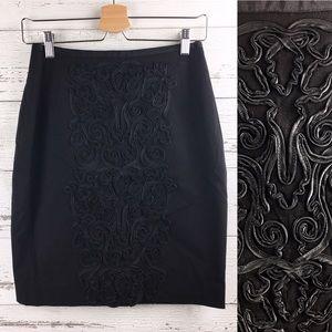 H&M Black Goth Gothic Pencil Mini Skirt Detailing